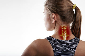 Neck pain, inflammation or illness on woman body. Close up of female athlete having neck illness.