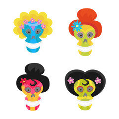 Set with colorful skulls for day of the dead. Sugar skulls