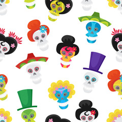 Seamless pattern with colorful skulls for day of the dead.