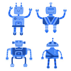 Set of different color cute robots. Vector illustration.