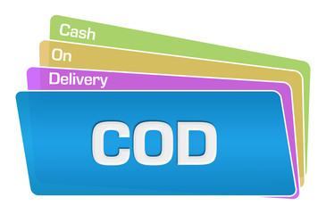 COD - Cash On Delivery Text Colorful Squares Stack