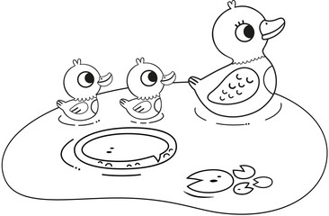 Black and white duck family illustration for coloringbook activity. (Vector illustration)