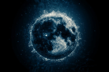 Planet in water - Moon. Science fiction art.