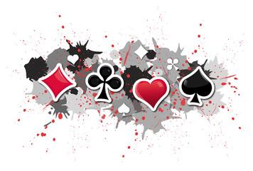 jeux de cartes sur fond tâches