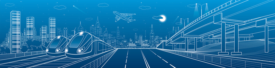 Infrastructure and transportation panorama. Automobile highway, overpass, airplane fly, two trains in depot, night city, towers and skyscrapers, urban scene, vector design art