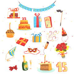 Happy Birthday Party Set Of Isolated Cute Cartoon Objects Related To Partying And Celebrating