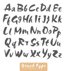 Vector Brush type alphabet watercolor