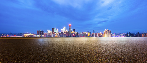 Fotomurales - cityscape and skyline of chongqing from empty road