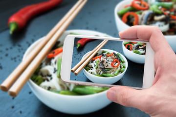 Food photography vegetarian teriyaki mushrooms and asparagus soba noodles