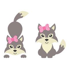 cartoon wolf with bow set