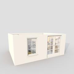 3d exterior rendering of furnished bedroom