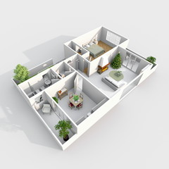 3d interior rendering perspective view of furnished home apartment