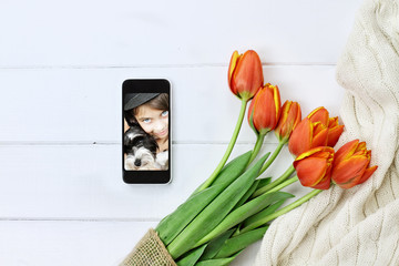 Tulips and Childs Picture for Mother's Day
