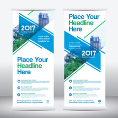 Blue Color Scheme with City Background Business Roll Up Design Template.Flag Banner Design. Can be adapt to Brochure, Annual Report, Magazine,Poster, Corporate Presentation, Flyer, Website