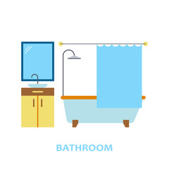 Lovely and colorful vector interior design bathroom in trendy flat style. Modern home decoration. Minimalistic background. Geometric house elements.