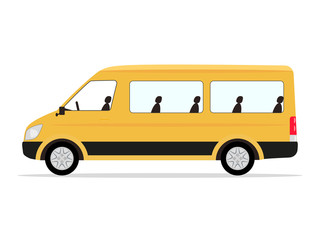 Vector cartoon yellow minibus passengers