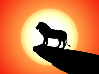 Vector black silhouette lion on rock cliff sunset