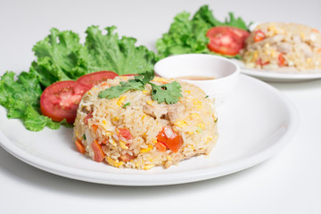 Pork fried rice with white background table