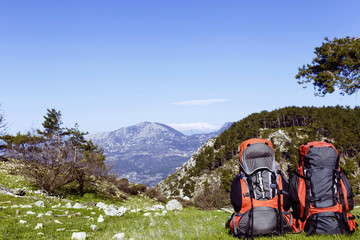 Backpack in the mountains with views of the mountains.