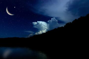 Night sky landscape and moon, stars, Ramadan Kareem celebration
