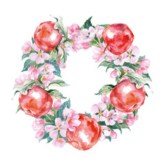 A wreath of branches of flowering Apple trees and red apples.Watercolor Vector
