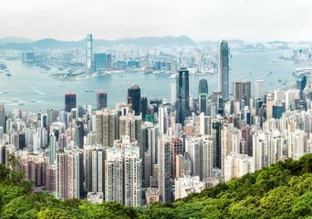 Hongkong skyline mit Blick auf Victoria Harbour