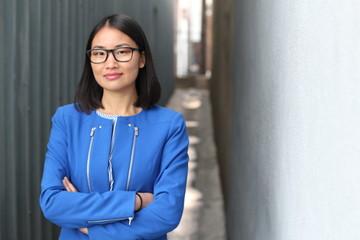 Stylish Asian businesswoman close up