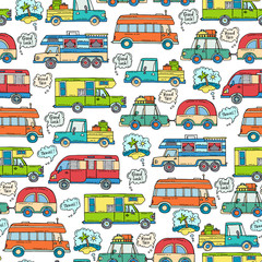 Vector seamless pattern with hand drawn colored cars. Pattern on the theme of travel and tourism, house on wheels