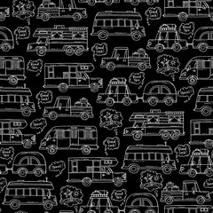 Vector seamless pattern with hand drawn isolated cars on black color. Pattern on the theme of travel and tourism, house on wheels