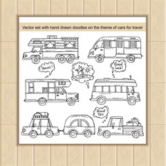 Vector set with hand drawn doodles on the theme of cars, transport, travel and tourism