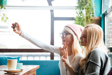 Two smiling women taking selfie with mobile phone in cafe
