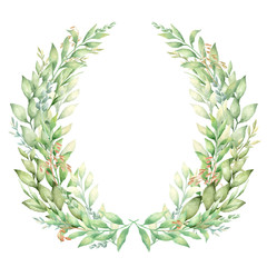 Vector watercolor hand painted elegant green leaves and herbs wreath