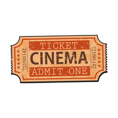 One retro style, vintage cinema, movie ticket, sketch vector illustration isolated on white background. Hand drawn cinema, movie ticket, pass, cinema object