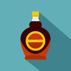 Bottle of maple syrup icon, flat style