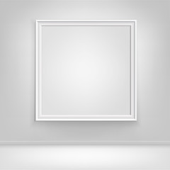 Vector Empty White Mock Up Poster Picture Frame on Wall with Floor Front View