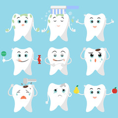 Cute tooth. A set of characters . Flat style. Prevention and treatment of caries. Funny and sad Emoji teeth. Vector illustration