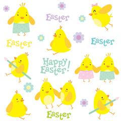 Easter holiday pattern. Little cute chickens, holiday decorations and Happy Easter lettering. Vector illustration.