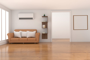 empty white room decoration with furniture in wood parquet and white room design in 3D rendering
