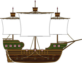 Cartoon Medieval Style Sailing Ship