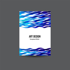 Brochure template, cover design for copybook, diary, notebook,  folder with abstract sea waves. Vector illustration.