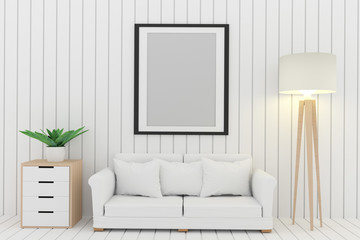 white sofa decorate with tree and lamp in the white room interior design in 3D render image
