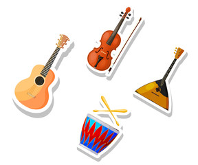 Set of color vector Cartoon musical instruments on a white background. Stickers musical
