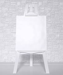 Vintage retro wooden easel artist's with blank canvas on a brick wall background. 3d