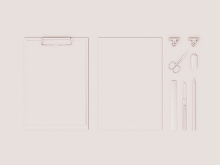 White Corporate Identity. Branding Mock Up. Office supplies, Gadgets. 3D illustration