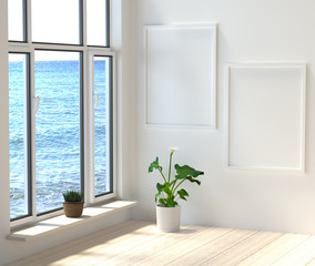 Mock up a modern interior. Room with large windows overlooking the sea. 3d rendering.