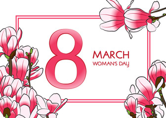 8 March Woman's day greeting card.