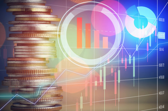 stock market and row of coins, concept in grow, finance , account and capital banking