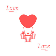 Cute vector illustration of love symbols: heart air balloon icon and three cupcakes. Romantic collection.