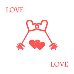 Cute vector illustration of love symbols: heart key icon and two hearts. Romantic collection.