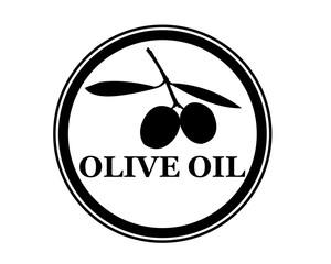 logo olio d'oliva nero con cerchio e disegno olive